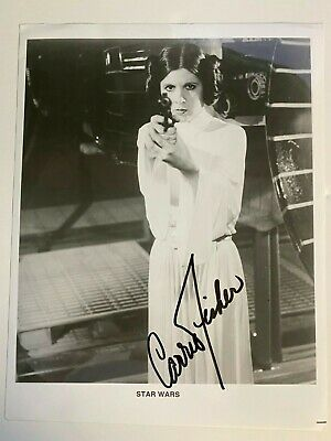 Carrie Fisher: signed black & white 8x10 photo as Princess Leia, Star Wars