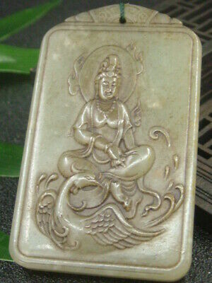 Antique Chinese Nephrite Celadon Hetian-OLD  jade KUANYIN Statues/Pendant