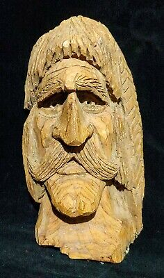 Vtg Hand Carved Wood Wooden Face Folk Art Tree Spirit Decor Mythical Native Elf
