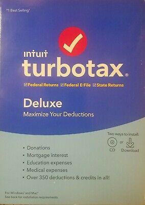 Intuit Turbotax Deluxe Federal + State 2019 Tax Software