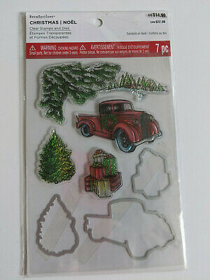 Recollections Christmas Clear Stamp Die Set Truck Snowman Reindeer Pine Cone