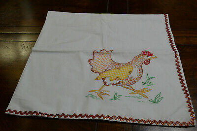 Vintage White Tablecloth Hand Embroidery Applique Rooster 33 X 34""