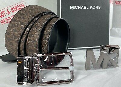 Michael Kors Men's Reversible Signature 4 in 1 Belt Box Set in Brown Black