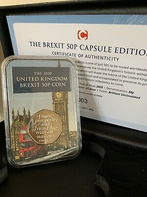 2020 UK Brexit 50p Coin In Capsule Limited To 995 Now SOLD OUT Low COA 003