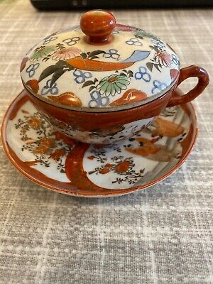 Antique Chinese Tea Cup Saucer And Lid