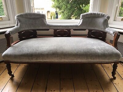 Victorian Walnut Sofa upholstered in Silver Grey Velvet, excellent condition