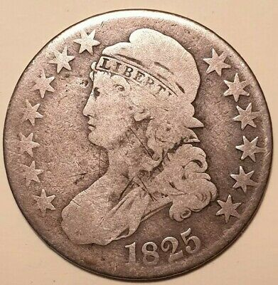 1825 Capped Bust Half Dollar coin, 90% silver, circulated G-VG, nice coin