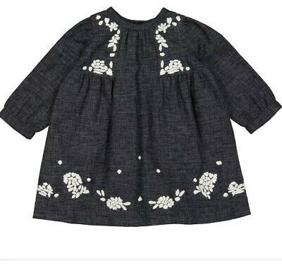 Bonpoint Grey Embroidery Baby Dress - 6m