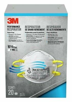 3M 8210 N95 Particulate Respirator Coronavirus Face Mask Nosh approved 20pcs
