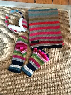 Accessorize Girls Ear Muffs Scarf And Gloves Set Striped Multicoloured