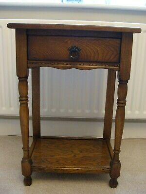 Solid Oak Side Table/Hall Table With Drawer - Mid-Oak Colour - Used