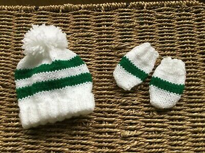 Brand New Hand Knitted Celtic Fc White And Green Stripe Pom Pom Hat And Mitts Se