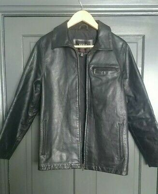 Boys/Girls Next Real Leather Black Jacket Age 13-14 Ex-Cond