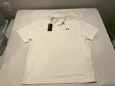 NWT $69.99 Under Armour Golf Mens Coolswitch Microthread Polo White Sz XL