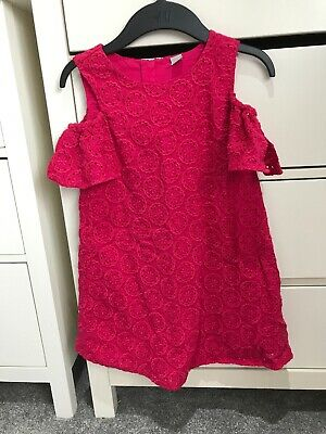 Girls Pink TU Sainsburys Cold Shoulder Dress Size 7 Years Good Condition