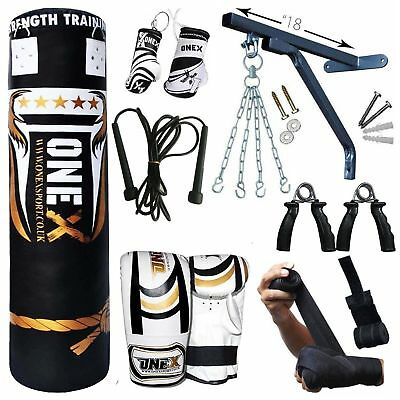 3Ft,4ft,5Ft Punch Bag Filled Heavy 17 Piece Boxing Set Gloves MMA Martial Arts