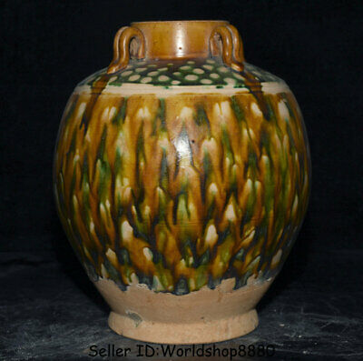 """10.4"""" Antiquity Old Chinese Tang Sancai Pottery Dynasty 4 Ears Pot Jar Crock"""