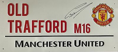 Manchester United Old Trafford Hand Signed Chris Smalling Street Sign.