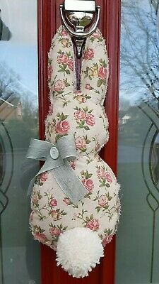 Cute Spring Easter Bunny Country Wreath hand made With Flowered Burlap.