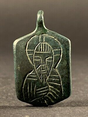 Ancient Byzantine Bronze Cross Pendant With Saint Michael Depiction Circa 800Ad