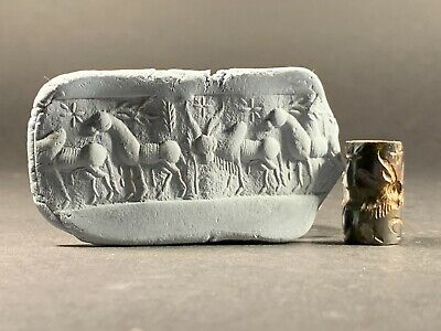 Ancient Babylonian Stone Cylindrical Seal Depicting Beautiful Scene Circa 1800Bc