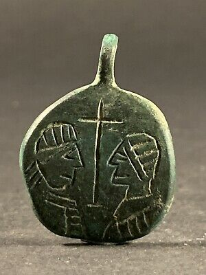 Nice Ancient Byzantine Bronze Religious Crucifix Cross Amulet Saints Depiction