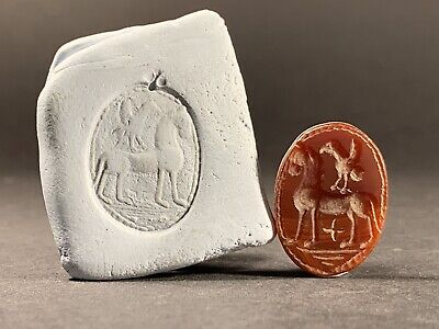 Ancient Greek Circa 300-100 Bc Intaglio With Horse & Bird Carnelian Stone Seal