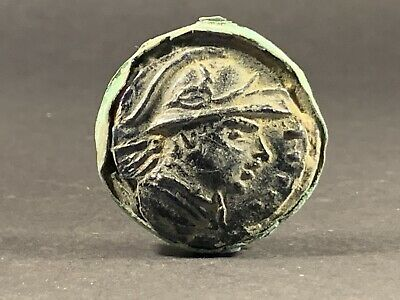 Ancient Roman Gaming Token Featuring Male Bust On Bronze Plate - Circa 100-200Ad