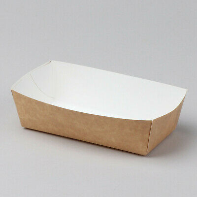 600pcs Disposable Paper Snack Trays ECO friendly Brown/White Bulk multisize