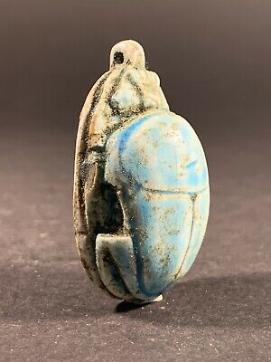 Ancient Egyptian Scarab Amulet Hieroglyphics & Original Blue Colour Glaze C400Bc