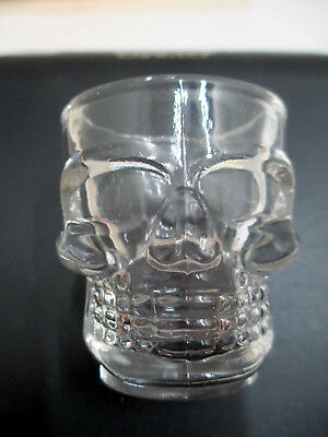 Lot of 4 Clear Skull Shot Glasses Heavy Thick Glass - Vodka, Tequila, Whisky EUC