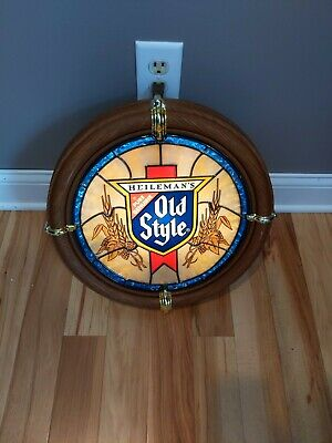 Vintage Heilemans Old Style Beer Lighted Faux Stained Glass Bar Sign Light