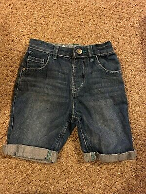 Boys Blue Denim Shorts With Turn Ups  From George Size 4-5 Years