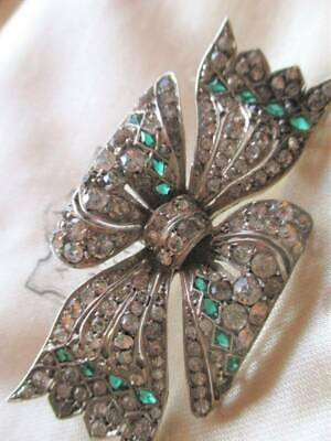 Beautiful large Sterling Silver Art Deco Bow Brooch with Diamond emerald paste