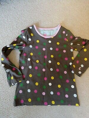 Girls Brown Spotty JOULES Long Sleeved Top Age 5 Years