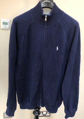 Mens Polo Ralph Lauren Designer Cotton Zip Up Cardigan Zip Jumper Navy Blue M