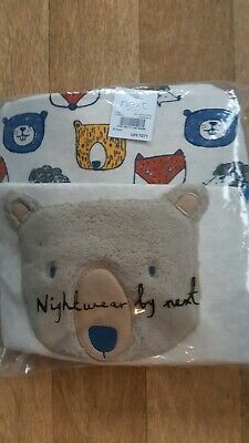 Next Boys Bear Animal Snuggles Snuggle Fit Pj's Pyjamas Age 6-7 Years Brand New