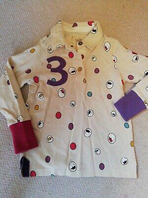 Girls Long Sleeved Spotty Little JOULES Top / Rugby Shirt Age 6 Years