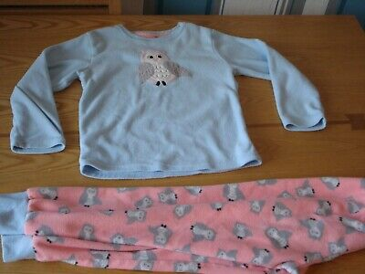 Girl's Blue Owl Fleece Pyjamas  Age 7-8 Primark Used