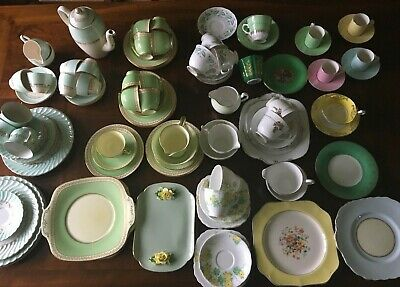 Vintage China tea/coffee sets - Bulk (see details) - White/Green And Yellow