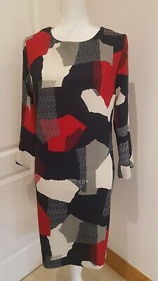 Next Navy Blue, Cream And Red Patterned Dress In Size 12 BNWT