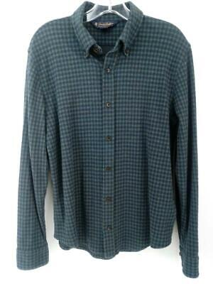 BROOKS BROTHERS Stretch Flannel Button Down Shirt Navy Green Check Mens Small