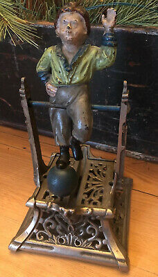"Cast Iron ""BOY ON TRAPEZE"" Mechanical Bank Original Antique Toy"