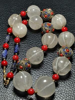 Rock Crystal Old & Lapis stone Beads coral Beads NEcklace