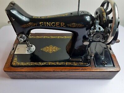 Vintage Singer 28k Hand Crank Sewing Machine with Case and New Locking Key.
