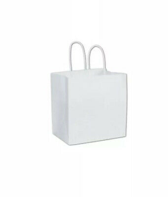 250 White Paper Bags Merchandise Gift Shoppers Ruby 8 x 5 x 8""