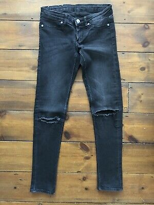 Cheap Monday Jeans Size W25 Black Spray On Skinny Low Rise Washed Rip