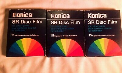 Outdated still sealed 15 exp Konica SR Film for Kodak and other DISC CAMERAS (x3