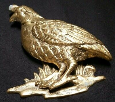 Vintage Quail Bird Brass Door Knocker Partridge