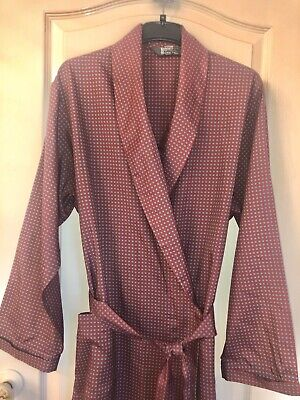 Smoking Jacket Dressing Gown Robe Large Mens Burgundy by Tootal